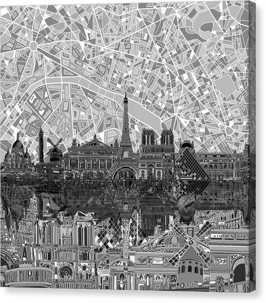 Paris Skyline Canvas Print - Paris Skyline Black And White by Bekim Art