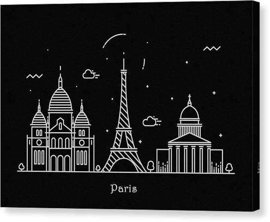 Paris Skyline Canvas Print - Paris Skyline Travel Poster by Inspirowl Design