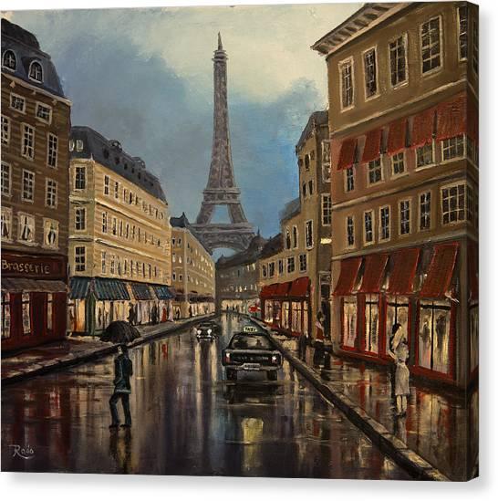 Paris Street Sciene At Night Canvas Print