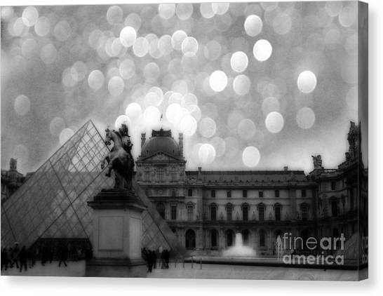 The Louvre Canvas Print - Paris Surreal Louvre Museum Pyramid Black And White Architecture by Kathy Fornal
