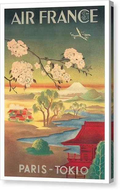 Mount Fuji Canvas Print - Paris Tokyo Air France Vintage Airline Travel Poster by Retro Graphics