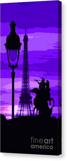 Abstract Digital Art Canvas Print - Paris Tour Eiffel Violet by Yuriy Shevchuk