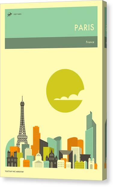Paris Skyline Canvas Print - Paris Travel Poster by Jazzberry Blue