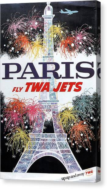 Paris - Twa Jets - Trans World Airlines - Eiffel Tower - Retro Travel Poster - Vintage Poster Canvas Print
