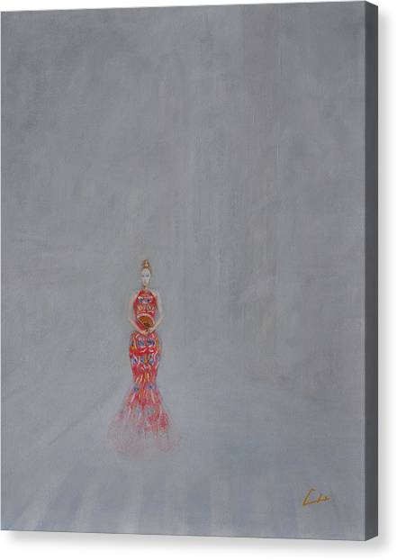 Paris - Woman Holding A Fan In Haze Canvas Print by CH Narrationism
