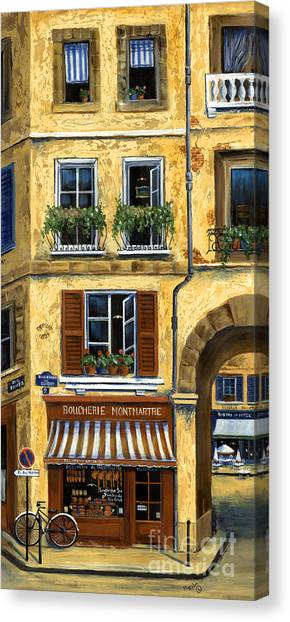 Flower Shop Canvas Print - Parisian Bistro And Butcher Shop by Marilyn Dunlap