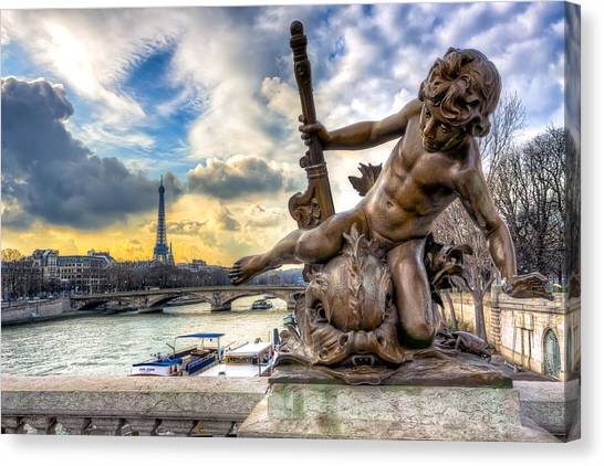 Parisian Cherub On The Pont Alexandre IIi Canvas Print by Mark E Tisdale