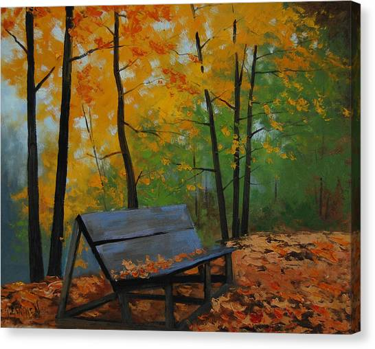 Maple Leaf Art Canvas Print - Park Bench  by Graham Gercken