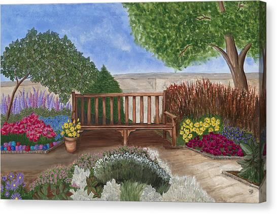 Park Bench In A Garden Canvas Print by Patty Vicknair