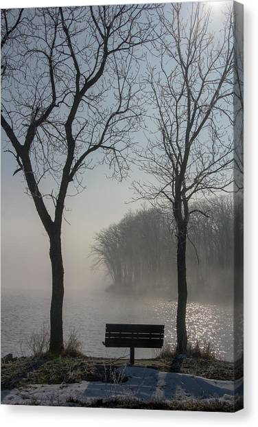 Park Bench In Morning Fog Canvas Print