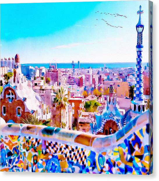Park Guell Watercolor Painting Canvas Print