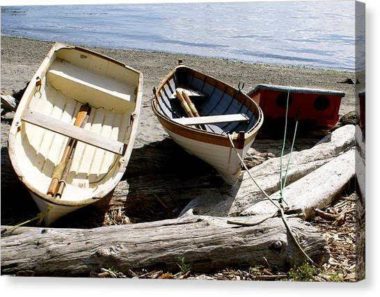 Parked Boats Canvas Print by Sonja Anderson