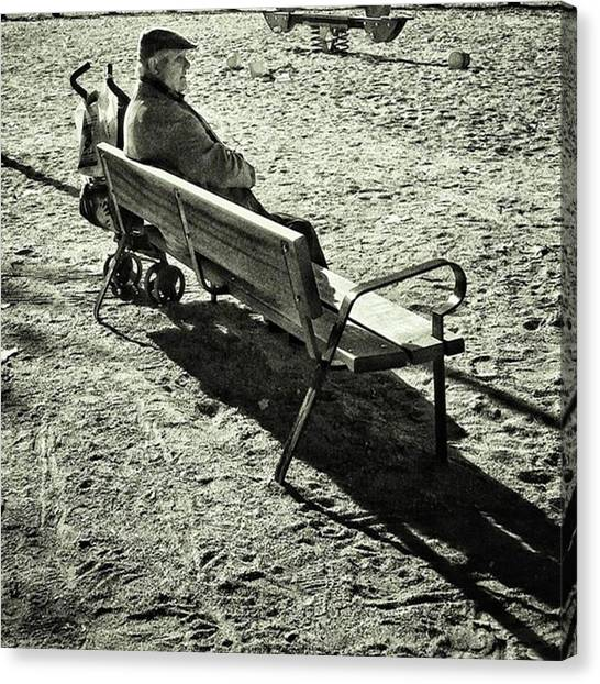 Men Canvas Print - Parked Sir #bench #man #park by Rafa Rivas