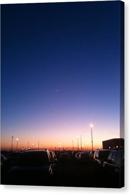 Parking Lot Sunset Canvas Print by Jonathan Kotinek