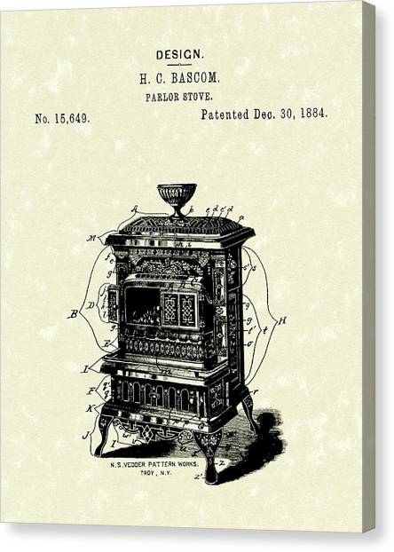 Parlors Canvas Print - Parlor Stove Bascom 1884 Patent Art by Prior Art Design