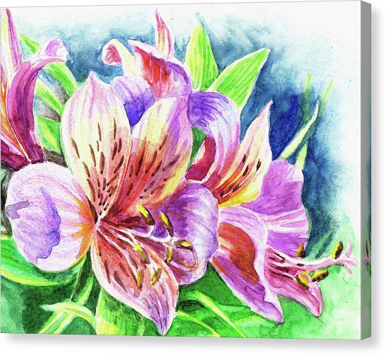 Peruvian Canvas Print - Parrot Peruvian Lilies by Irina Sztukowski