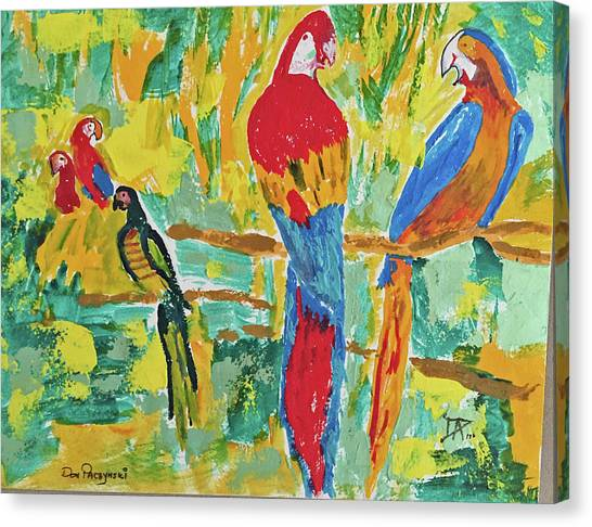 Canvas Print featuring the painting Parrots by Donald Paczynski