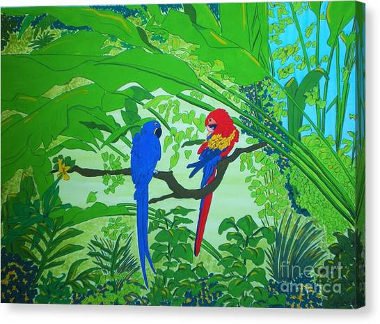 Parrots Canvas Print by Michaela Bautz