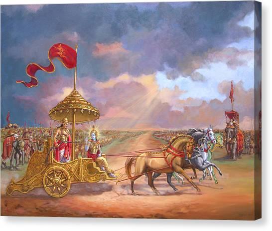 Fine Art India Canvas Print - Partha Sarathi  Krishna Speaks The Bhagavad-gita To Arjuna by Dominique Amendola