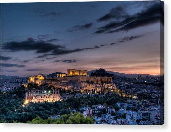 The Acropolis Canvas Print - Parthenon And Acropolis At Dawn by Michael Avory