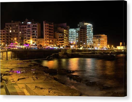 Midnite Canvas Print - Particolored Midnight - Tower Road Waterfront In Sliema Malta by Georgia Mizuleva