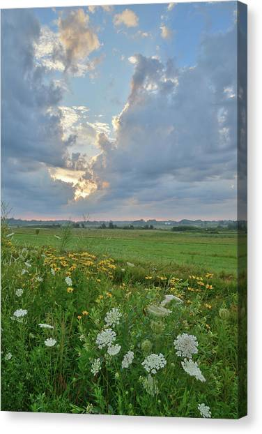 Prairie Sunrises Canvas Print - Parting Of The Skies Over Glacial Park by Ray Mathis