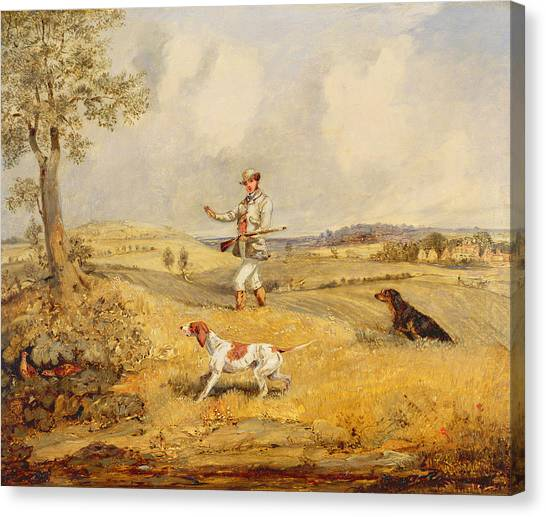 Beagle Canvas Print - Partridge Shooting  by Henry Thomas Alken
