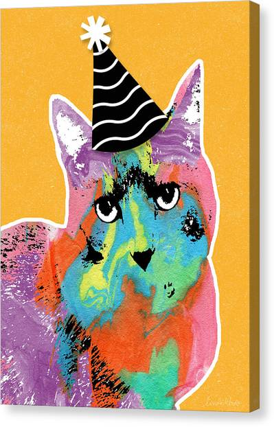 Happy Birthday Canvas Print - Party Cat- Art By Linda Woods by Linda Woods