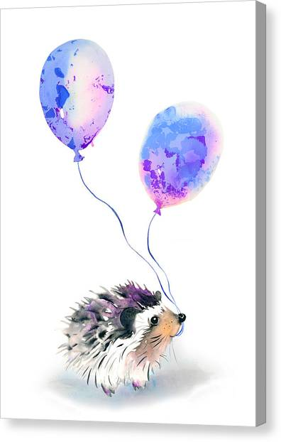 Happy Birthday Canvas Print - Party Hedgehog by Krista Bros