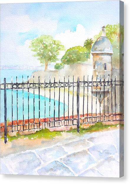 Puerto Canvas Print - Paseo De La Princesa Puerto Rico by Carlin Blahnik CarlinArtWatercolor