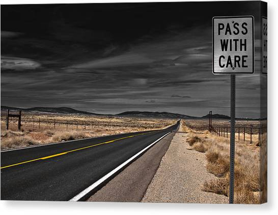 Highways Canvas Print - Pass With Care by Atom Crawford