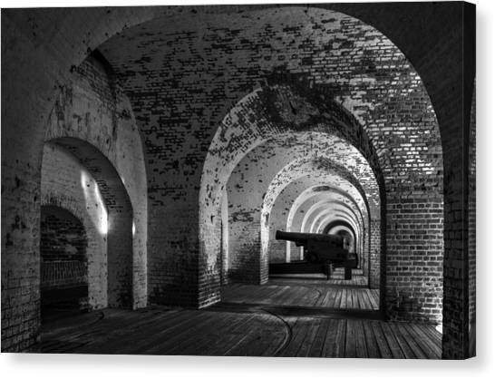 Passageways Of Fort Pulaski In Black And White Canvas Print