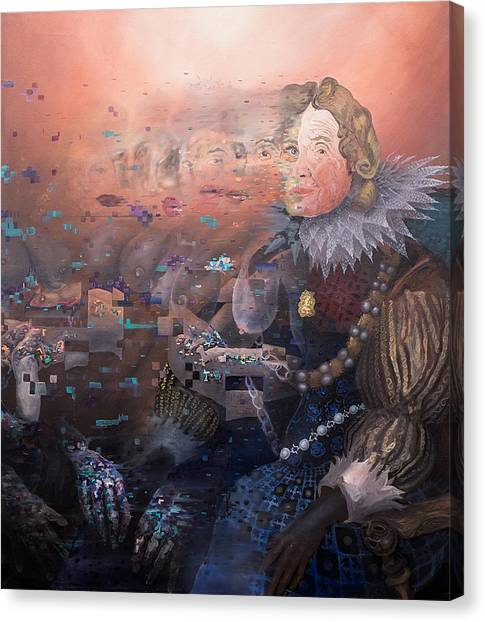Canvas Print featuring the painting Passing Beauty by Obie Platon
