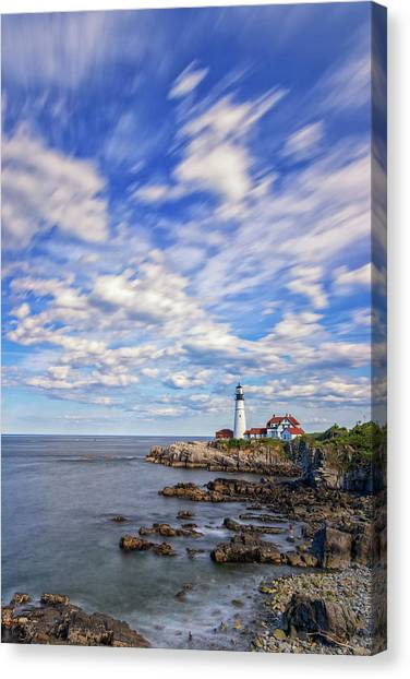 Passing Clouds At Portland Head Light Canvas Print