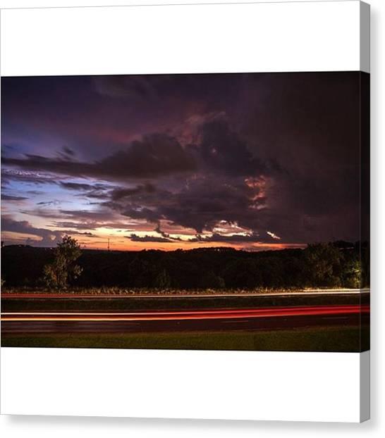 Storms Canvas Print - Passing Storm  #landscape #lighttrails by Andrew Nourse