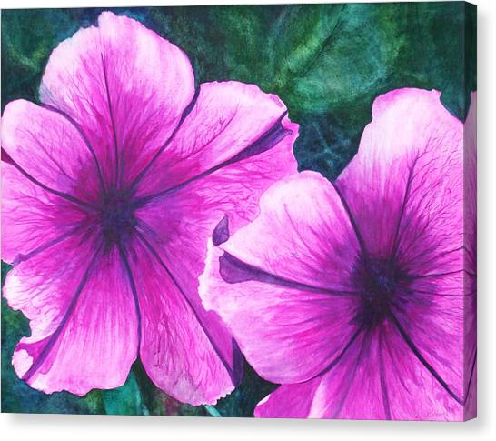 Passionate Petunias Canvas Print by Ally Benbrook