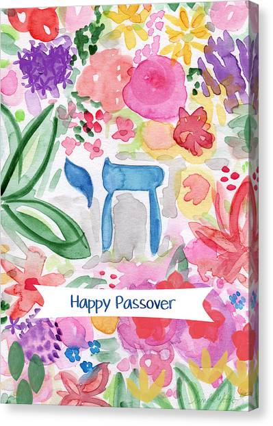 Easter Canvas Print - Passover Chai- Art By Linda Woods by Linda Woods