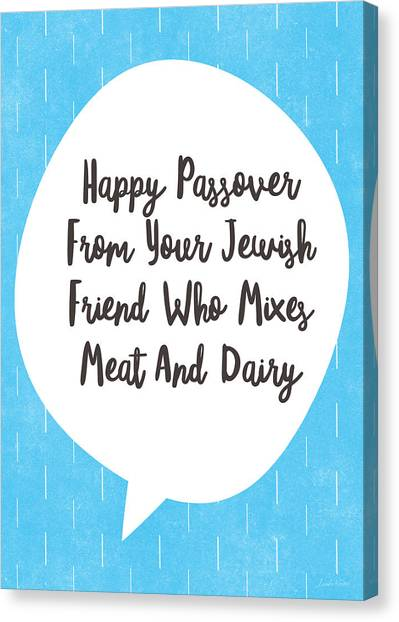 Easter Canvas Print - Passover Meat And Dairy Card- Art By Linda Woods by Linda Woods