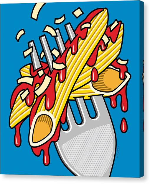Spaghetti Canvas Print - Pasta On Blue by Ron Magnes