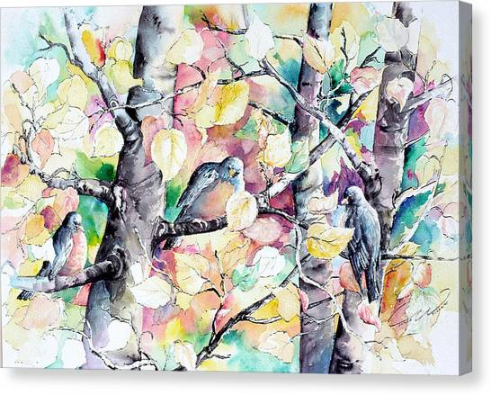 Pastel Aspen With Robins Canvas Print