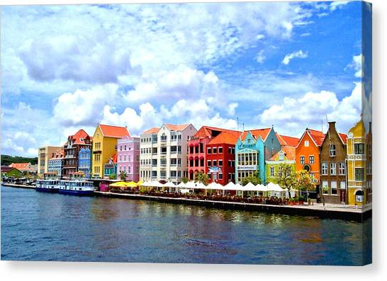 Pastel Building Coastline Of Caribbean Canvas Print