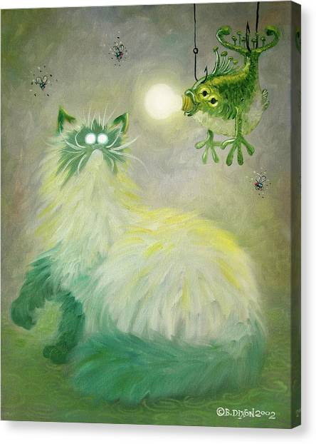 Himalayan Cats Canvas Print - Pastel Green by Baron Dixon