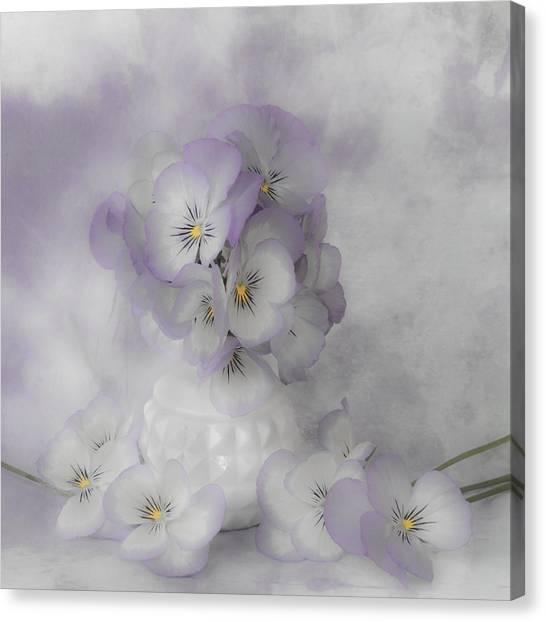 Pastel Pansies Still Life Canvas Print