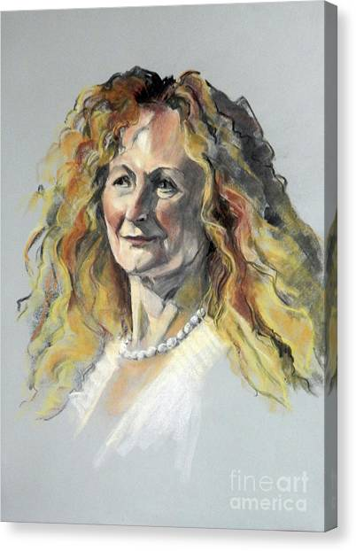 Pastel Portrait Of Woman With Frizzy Hair Canvas Print