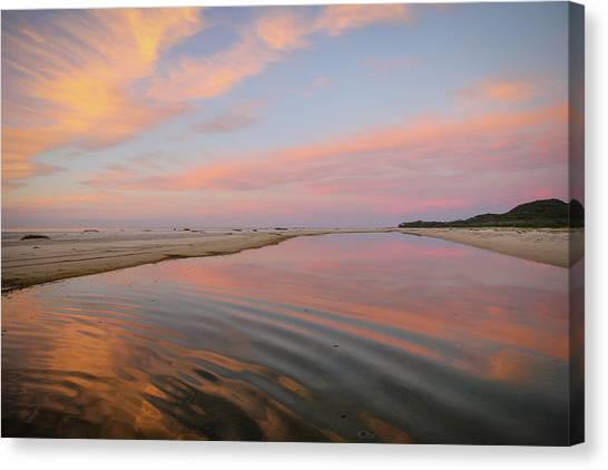 Pastel Skies And Beach Lagoon Reflections Canvas Print