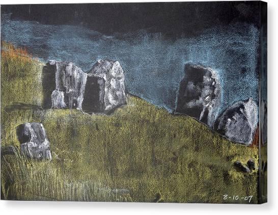Pastel Stones On Black Canvas Print