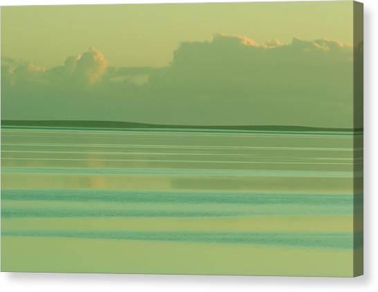 Pastel Sunset Sea Green Canvas Print