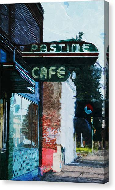 Cafes Canvas Print - Pastime Cafe- Art By Linda Woods by Linda Woods