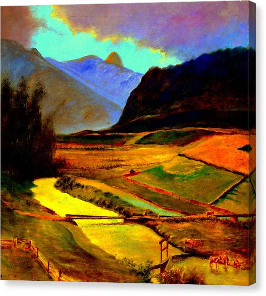 Pasture In The Mountains Canvas Print