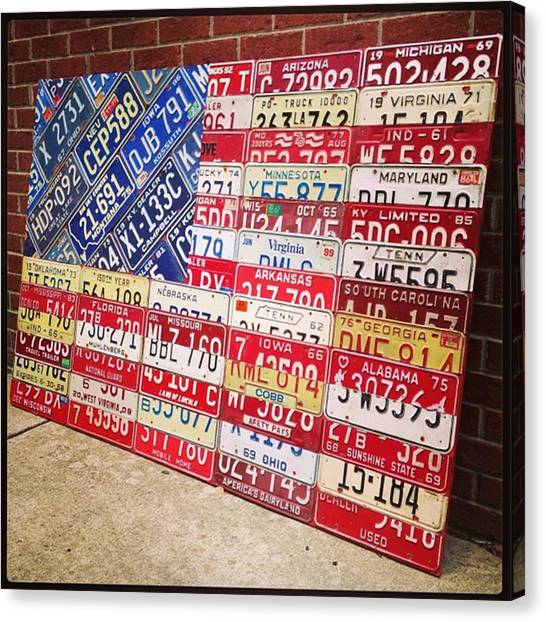 Red Canvas Print - Patchwork #american #flag Finished - by Design Turnpike